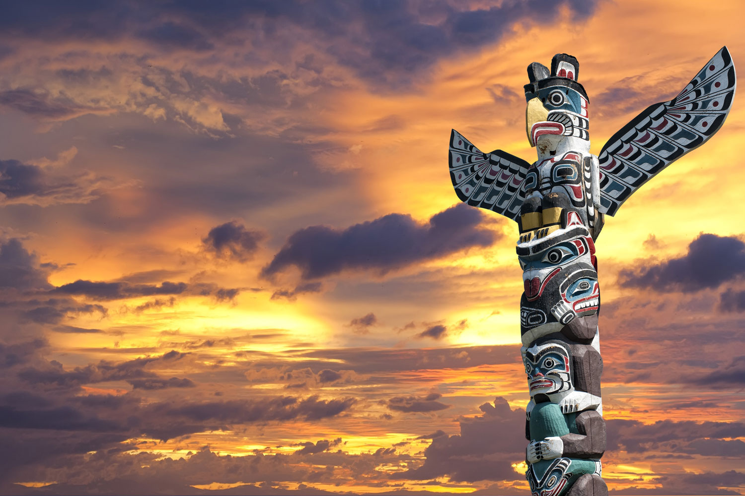 Totem In Sunset Photo